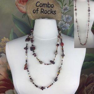 Stone & Beaded Single Strand Bohehemian Necklace